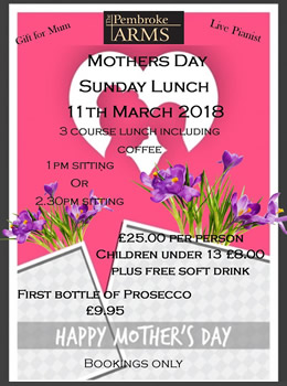 Mothers Day Sunday Lunch 11th March 2018